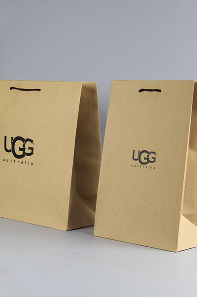 UGG high quality recyclable paper bag shopping bag custom print shoes bag